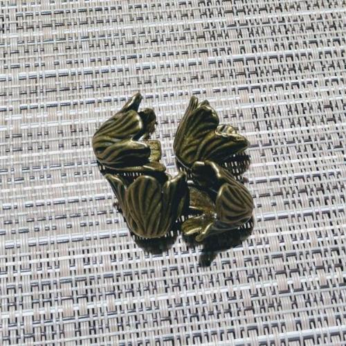 AB-3075 - Antique Brass Wavy Leaf Bead Caps,18mm | Pkg 4