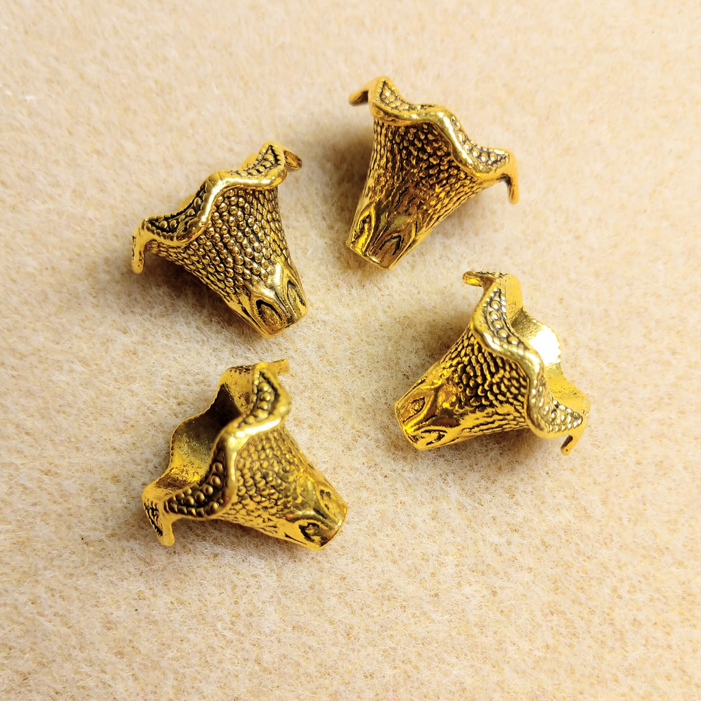 AB-2445 - Antique Gold Ruffled Bead Cones,18x22mm | Pkg 4