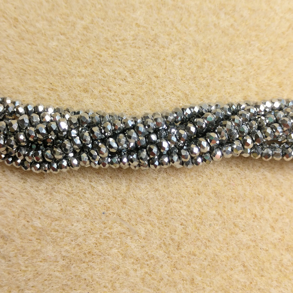 CC-2026 - Chinese Crystal Rondelle Bead Strand,2x3mm,Silver | Pkg 1 Strand