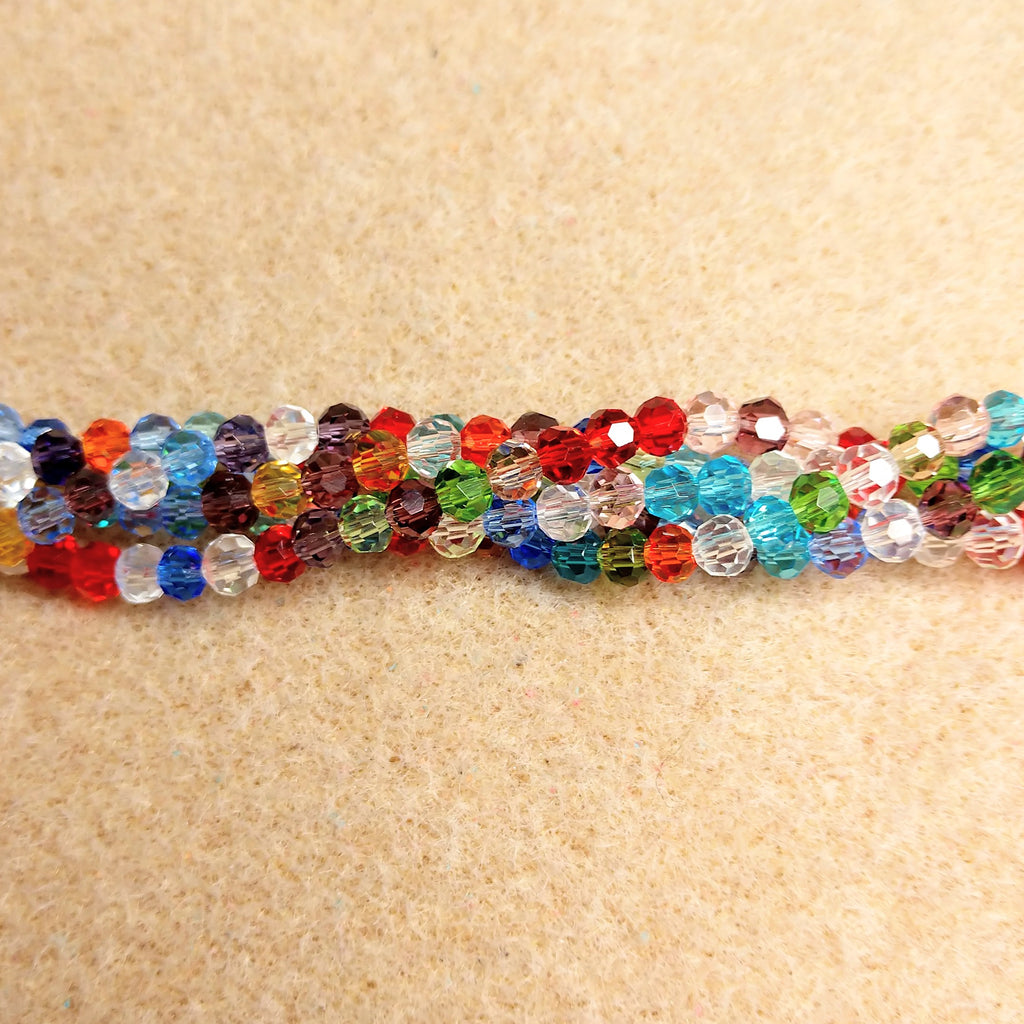 CCR-431 - Chinese Crystal 4mm Round Bead Strand,Multi | Pkg 1 Strand