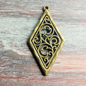 AB-2122 - Antique Brass Pewter Diamond Pendant With Filigree,26x58mm | Pkg 1