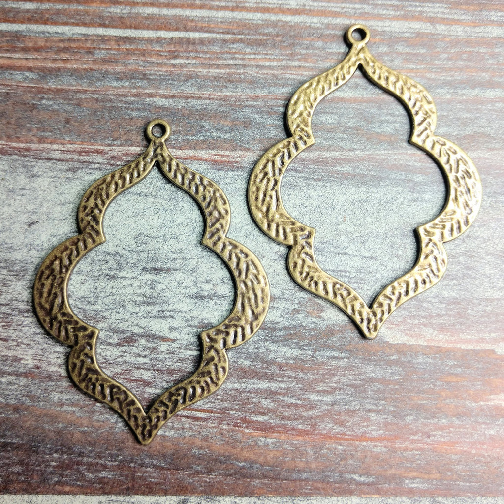 AB-0504 - Antique Brass Pendant,  Hammered Curvy Drops,  40x54mm | Pkg 2