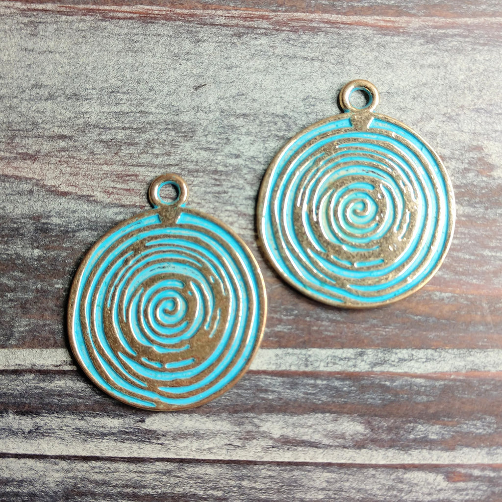 AB-0515 - Coin Pendant With Swirls,Gold/Blue Wash,33mm | Pkg 2