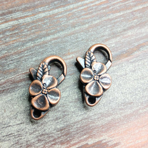 AB-0516 - Antique Copper Pewter Flower Lobster Clasp,12 x 25mm | Pkg 2