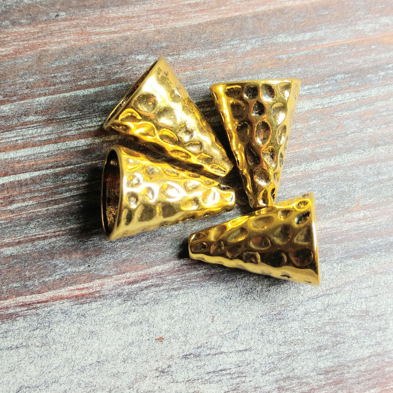 AB-0558 - Antique Gold Hammered Bead Cone, 16x22mm | Pkg 4