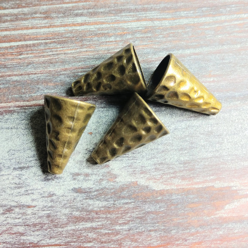 AB-0556 - Antique Brass Hammered Bead Cone,16x22mm | Pkg 4