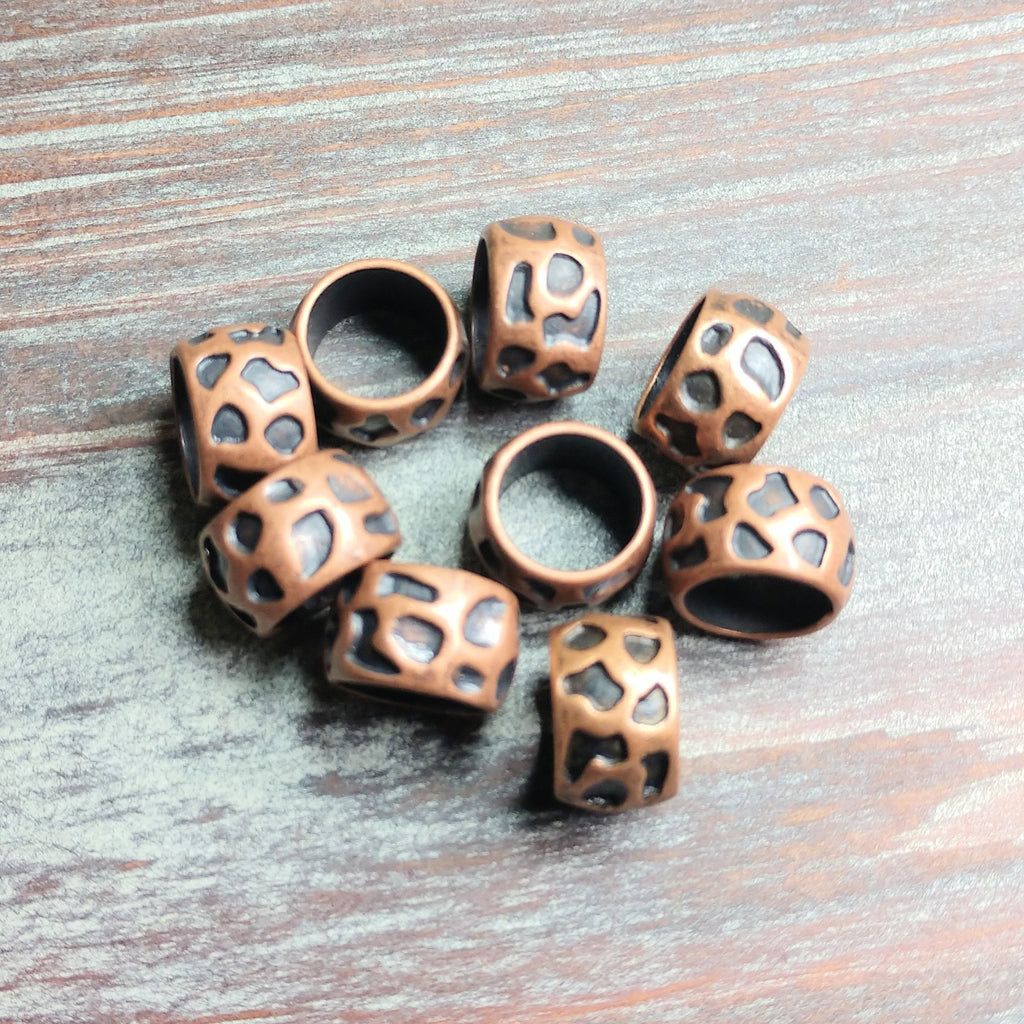 AB-0562 - Antique Copper Pewter Hammered Large Hole Bead, 13x8mm | Pkg 10