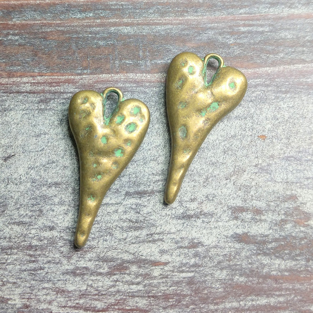 AB-0573 - Puffy Long Heart Pendant,Antique Brass/Patina,13x27mm | Pkg 5