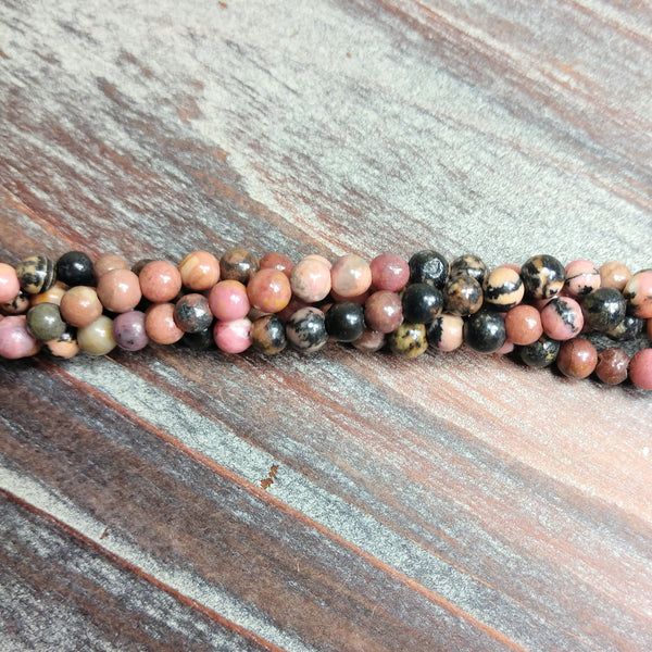 GM-0735 - 4mm Round Rhodonite Gemstone Bead Strand, 16"