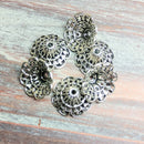 AB-0701 - Antique Silver Lacy Bead Caps, 8x18mm | Pkg 6
