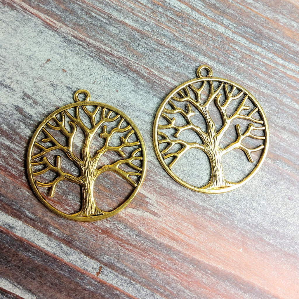 AB-0751 - Gold Tree Of Life Pendant, 35mm | Pkg 2