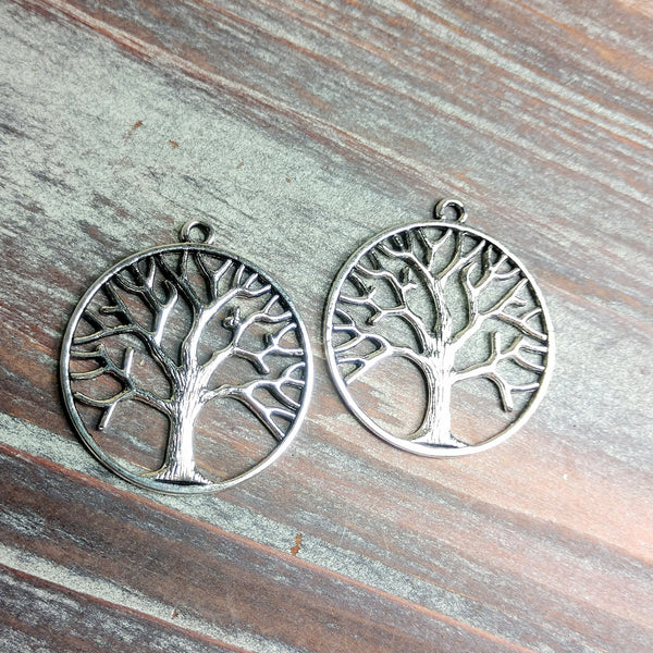 AB-0750 -  Silver Pewter Tree Of Life Pendant,35mm | Pkg 2