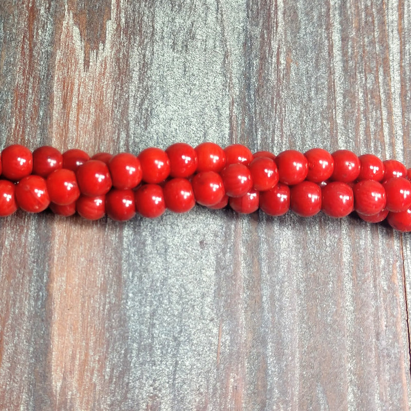 GM-0255 - 6mm Red Coral Gemstone Beads  | Pkg 1 Strand