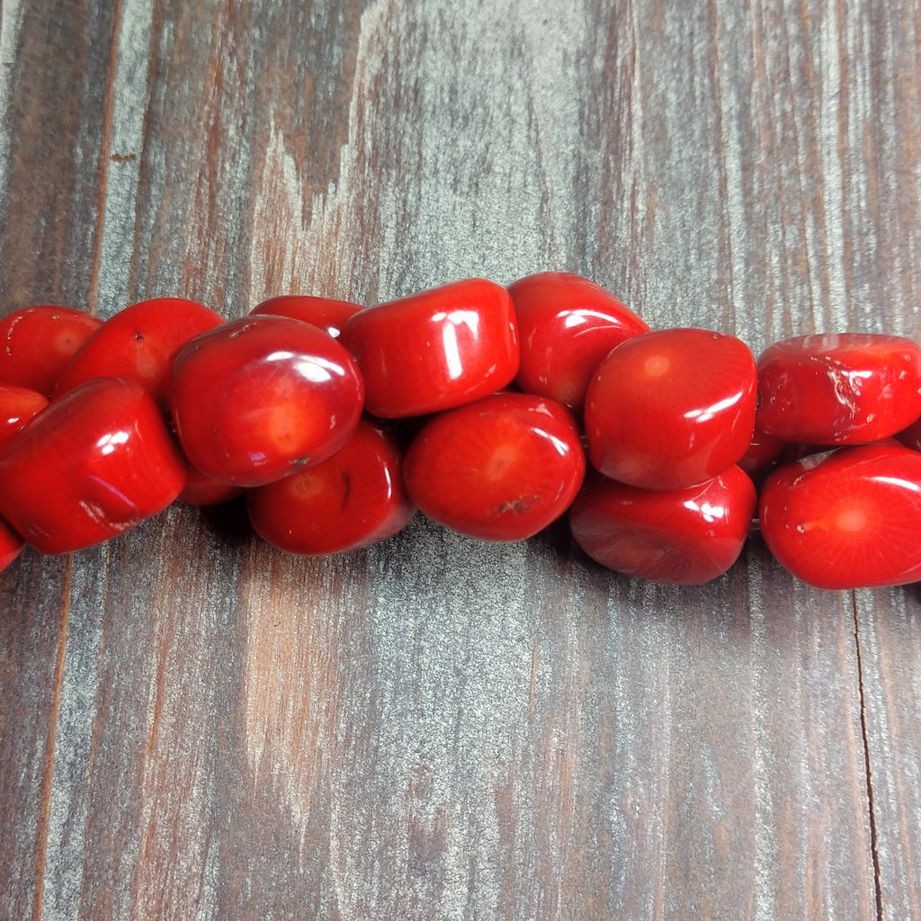 GM-0256 - Red Coral Gemstone Nuggets, 13x18mm | Pkg 1 Strand