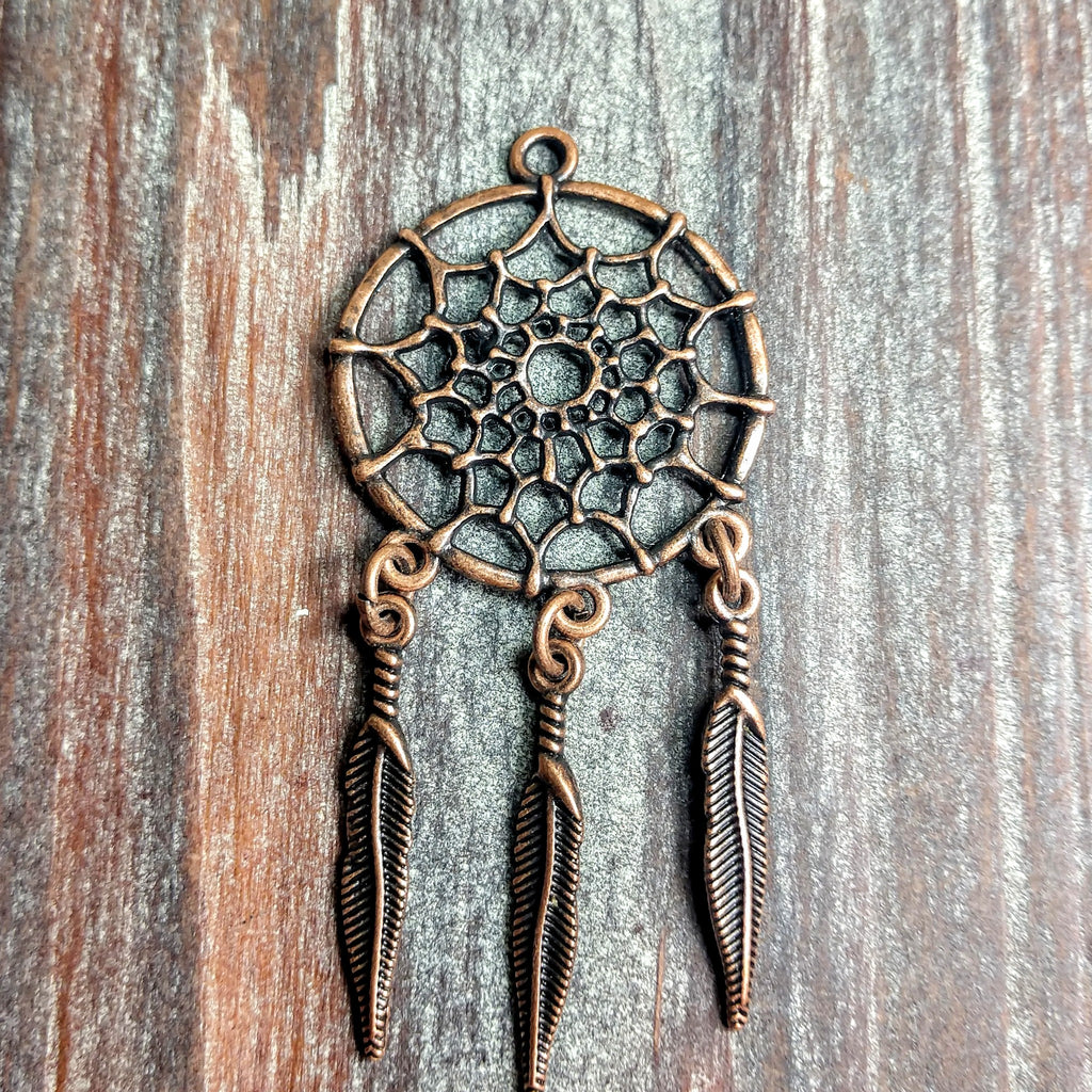 AB-0283 - Antique Copper Pendant/Finding, Dream Catcher, 28x58mm | Pkg 2