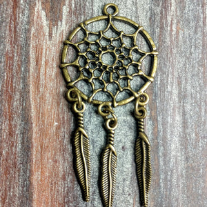 AB-0289 - Antique Brass Pendant/Finding, Dream Catcher, 28x58mm | Pkg 2
