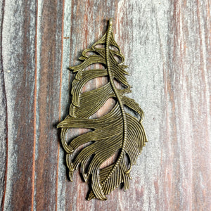 AB-0444 - Antique Brass Pendant, Fancy Feather, 38x80mm | Pkg 1