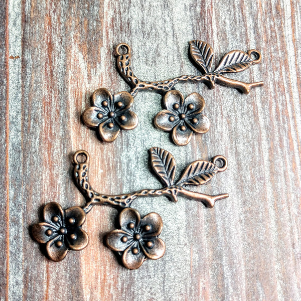 AB-0676 - Antique Copper Connector, Flowers With Leaves, 32x54mm | Pkg 2