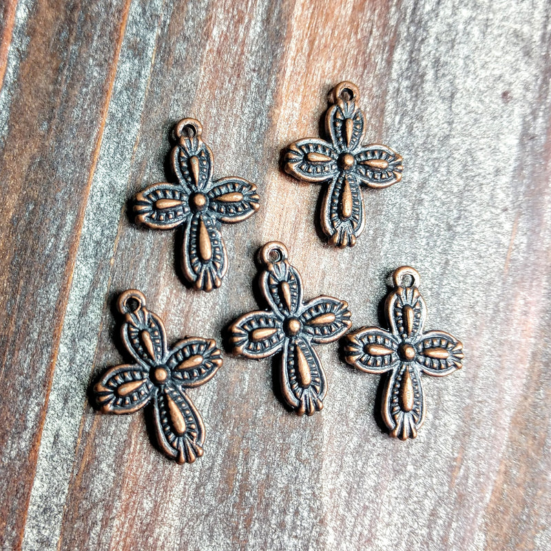 AB-0579 - Copper Charms, Rounded Cross, 13x18mm | Pkg 5