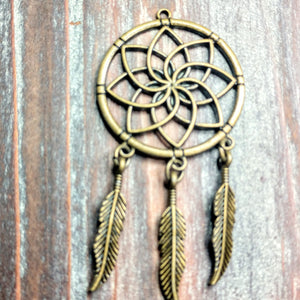 AB-0419 - Antique Brass Dream Catcher Pendant, 35x70mm | Pkg 1