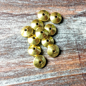 AB-0476 - Gold Metal Beads, Rombo, 4x8mm | Pkg 20