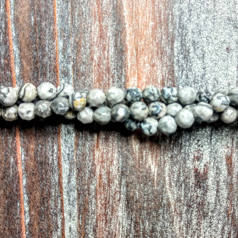 GM-0320 - Black Crazy Lace Agate 4mm Faceted Gemstone Bead Strand | Pkg 1 Strand