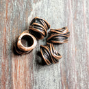 AB-0371 - Antique Copper Roped Large Hole Metal Beads, 10x14mm | Pkg 4