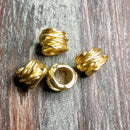 AB-0373 - Matte Gold Metal Beads,  Roped Large Hole, 10x14mm | Pkg 2