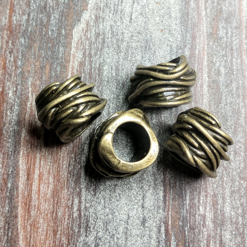 AB-0372 - Antique Brass Roped Large Hole Metal Beads,10x14mm | Pkg 4