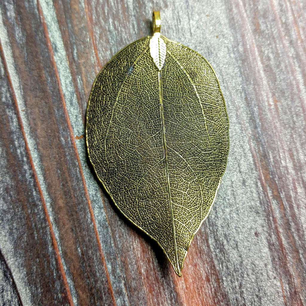 AB-0394 - Antique Brass Genuine Leaf Pendant, Electroplated, 37x65mm | Pkg 1