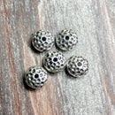 AB-0393 - Silver Hammered Rondelle Metal Beads,5x10mm | Pkg 5