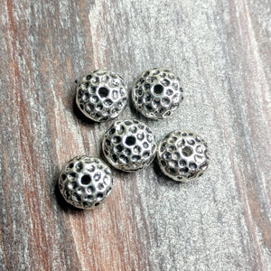 AB-0393 - Silver Hammered Rondelle Metal Beads, 5x10mm | Pkg 5