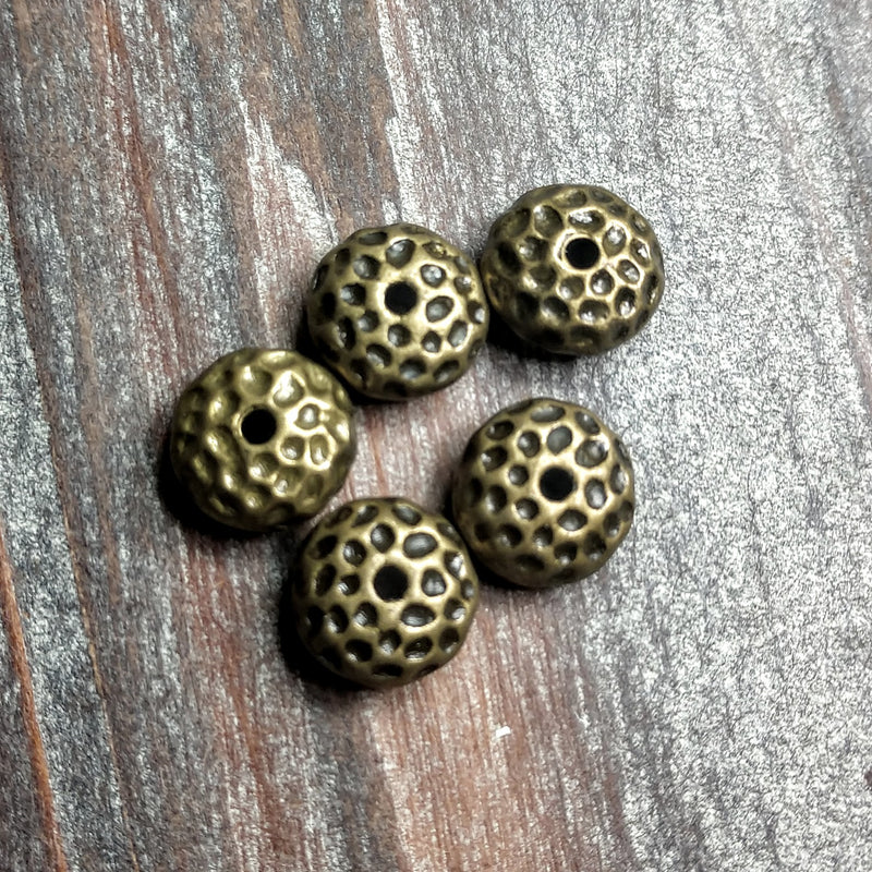AB-0392 - Antique Brass Hammered Rondelle Metal Beads,5x10mm | Pkg 5