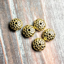 AB-0391 - Antique Gold Metal Beads,Hammered Rondelle,5x10mm | Pkg 5