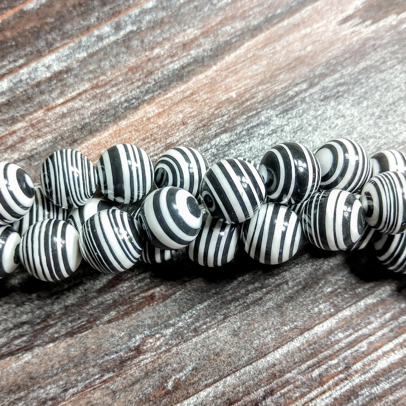 GM-0355 - 10mm Black/White Synthetic Calsilica Gemstone Bead Strand | Pkg 1