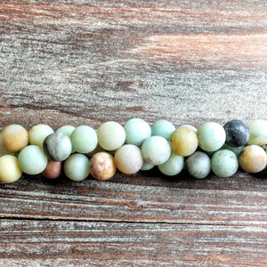 GM-0817 - Matte Amazonite Gemstone Bead Strand, 8mm | Pkg 1 Strand