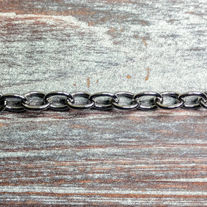 CHN-0101 - Gunmetal Smooth Oval Chain, 7x9mm | Pkg 3 Feet