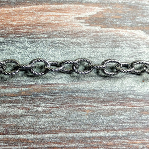 CHN-0100 - Gunmetal Textured Oval Chain, 7x8mm | Pkg 5 Feet