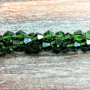 CCBI-021 - Chinese Crystal Bicone Beads, Emerald, 6mm | Pkg 1 Strand