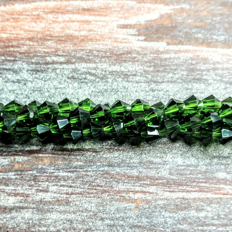 CCBI-025 - Chinese Crystal 4mm Bicone Beads, Emerald | Pkg 1 Strand
