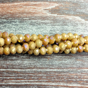 CC-2034 - Chinese Crystal Rondelle Beads, 4x6mm, Magic Milky Topaz | Pkg 1 Strand