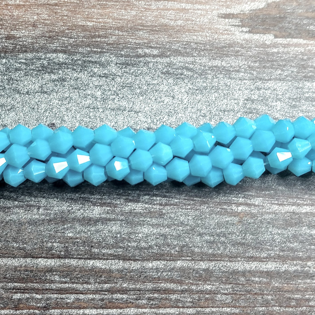 CCBI-029 - Chinese Crystal 4mm Bicone Beads, Opaque Turquoise | Pkg 1 Strand