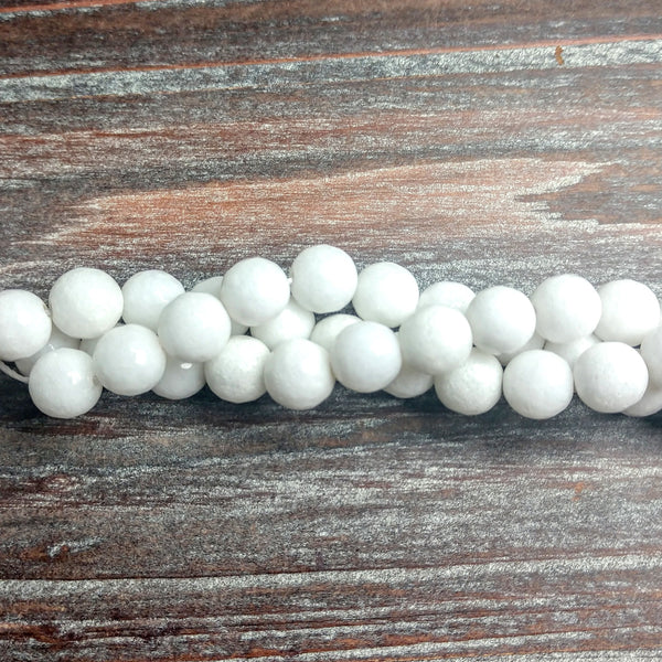 "GM-0138 - 6mm Faceted Jade Gemstone Bead Strand, White | 16"" Str"
