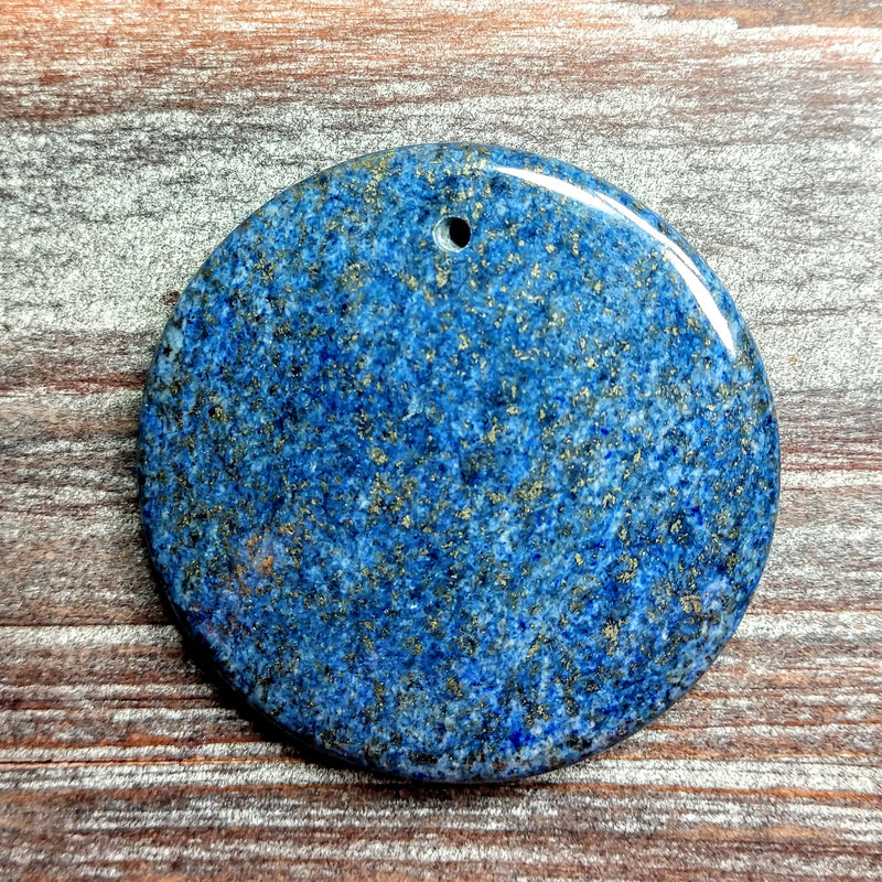 GM-0724 - Lapis Coin Gemstone Pendant, 46mm | Pkg 1