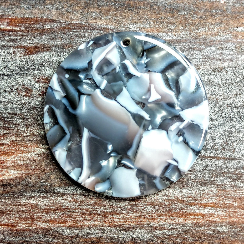 AB-5020 - Acrylic Finding, Mosaic Silver Disc, 32mm | Pkg 2