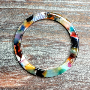 AB-5033 - Acrylic Finding, Multi Color Mosaic Ring, 40mm | Pkg 2