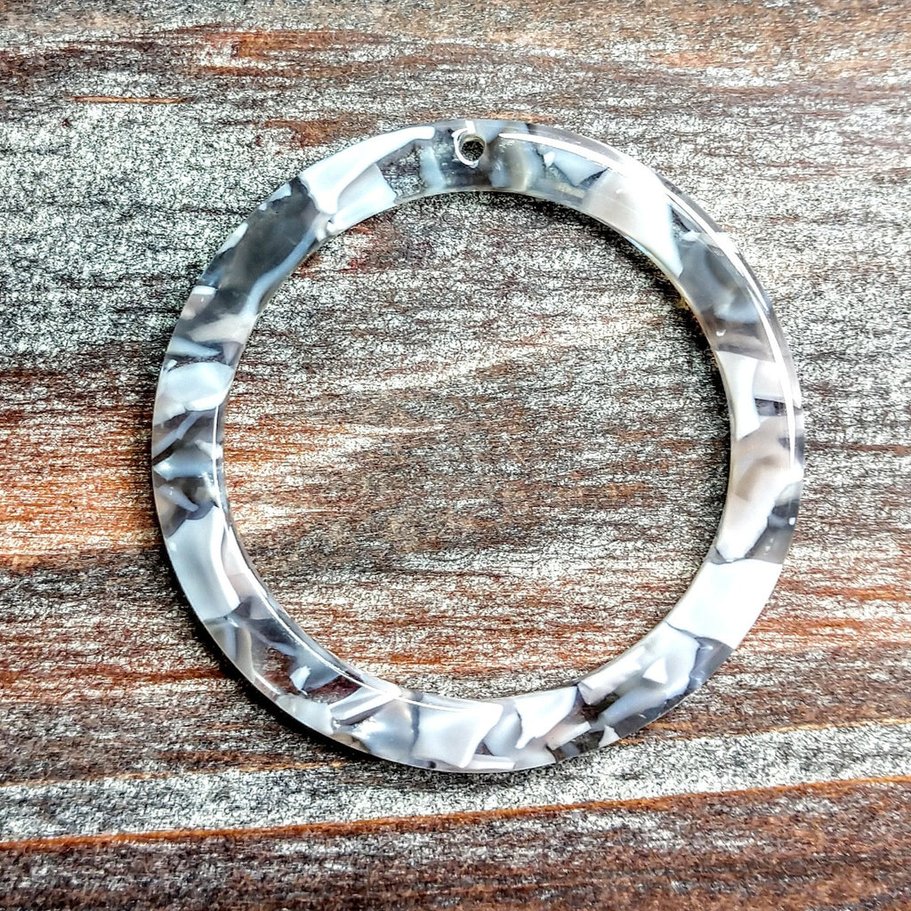 AB-5029 - Acrylic Finding, Mosaic Silver Ring, 40mm | Pkg 2