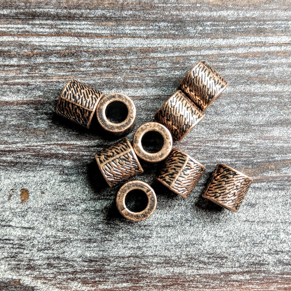 AB-5045 - Copper Metal Beads, Woven Tube, 7.5x8mm | Pkg 10