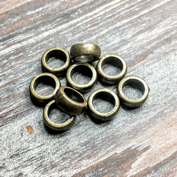 AB-5048 - Brass Metal Beads, Large Hole Spacer, 4x12mm | Pkg 10
