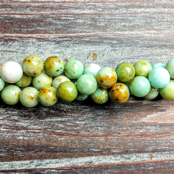 GM-5016 - Natural Green Jade Gemstone Beads, 8mm | Pkg 1 Strand
